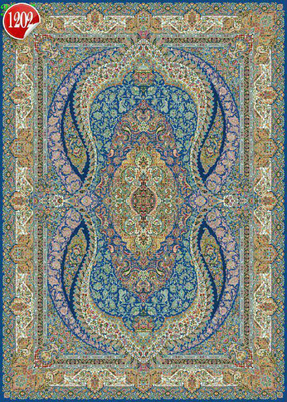 فرش 1000 شانه تراکم 3000 کاشان مدل جام ابی این طرح 10 رنگ و 5 سال ضمانت کیفیت دارد