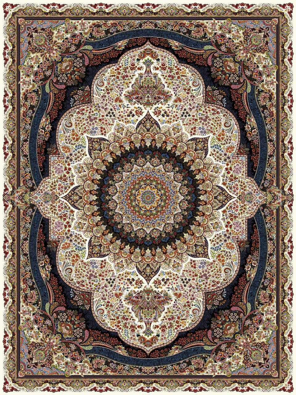 فرش 1000 شانه طرح پرهام کرم