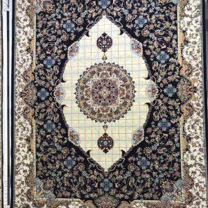 فرش کاشان – ۱۲۰۰ شانه – طرح مجنون سرمه ای