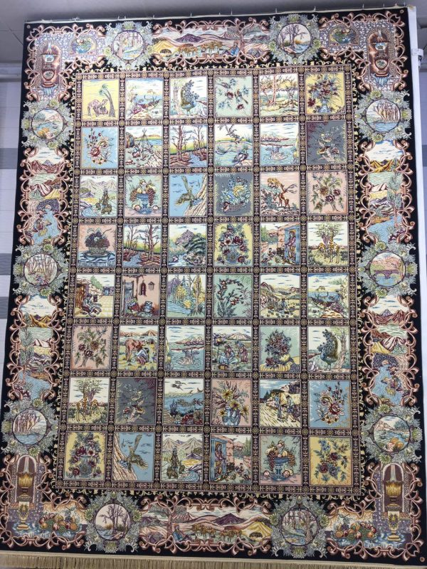 فرش کاشان - ۱۲۰۰ شانه - طرح خشتی