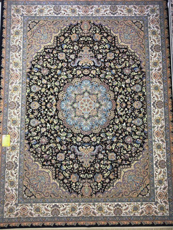 فرش کاشان - ۱۲۰۰ شانه - طرح یلدا سرمه ای