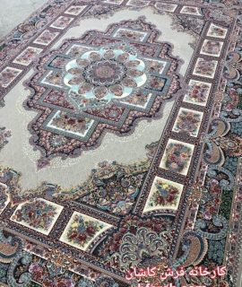 فرش کاشان نقشه حوض نقره رنگ فیلی