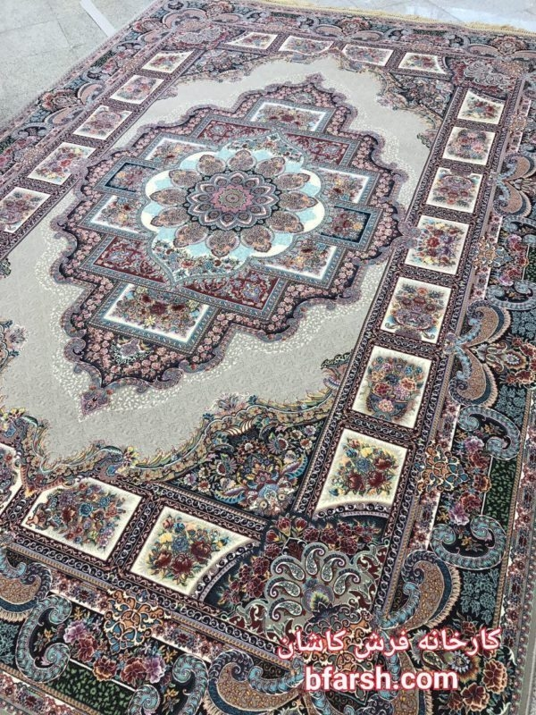 تقسیم بندی کلی فرش | فرش کاشان نقشه حوض نقره رنگ فیلی