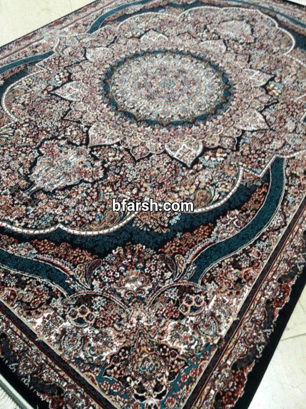 فرش کاشان - 500 شانه - طرح پرهام سرمه ای