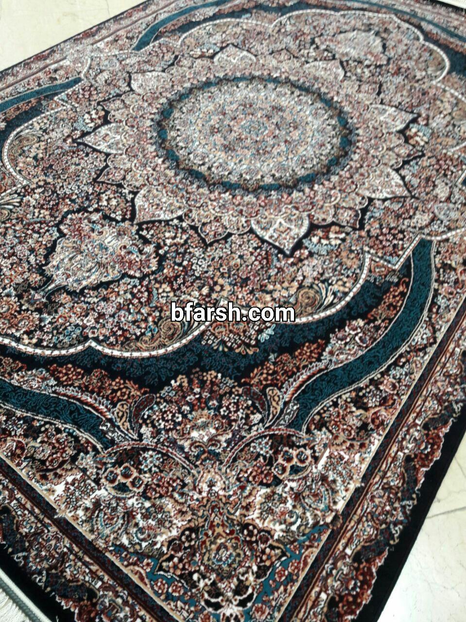 فرش کاشان – ۵۰۰ شانه – طرح پرهام سرمه ای ۸ رنگ