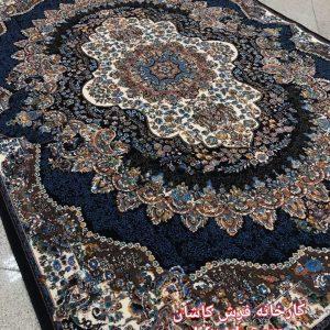 فرش کاشان ۵۰۰ شانه – طرح ارکیده سرمه ای