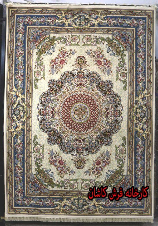 فرش کاشان - 1200 شانه برجسته طرح فرشته کرم