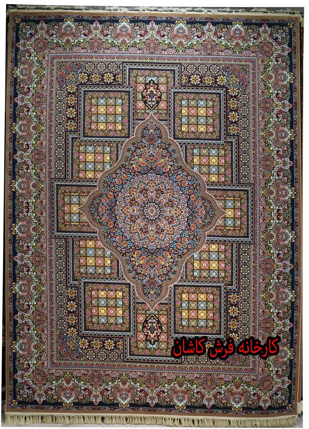 فرش کاشان – ۷۰۰ شانه نقشه درخشان نسکافه ای
