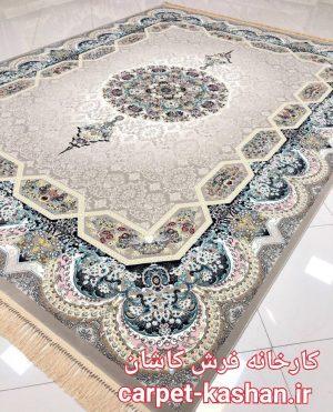 فرش کاشان – ۱۲۰۰ شانه نقشه هالیدی رنگ ترمه ای