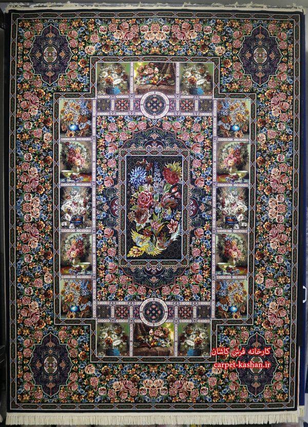 فرش کاشان - 1000 شانه نقشه باغ ارم سرمه ای