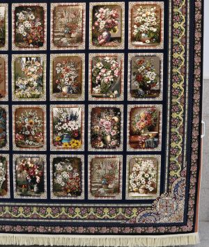 فرش ۱۰۰۰ شانه گلبوته سرمه ای
