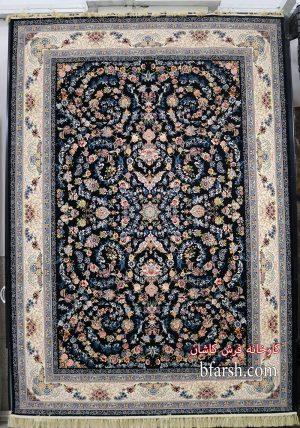 فرش کاشان – ۱۲۰۰ شانه طرح افشان نگار سرمه ای