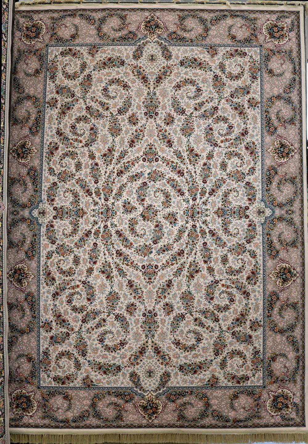 فرش کاشان – 1200 شانه مدل افشان اسلیمی گل افشان