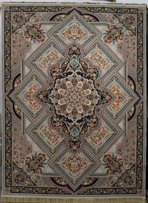 فرش کاشان – ۱۲۰۰ شانه مدل گل ارا ترمه ای