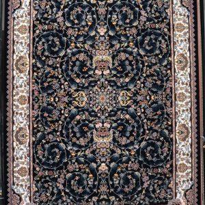 فرش کاشان – ۷۰۰ شانه نقشه رز افشان سرمه ای
