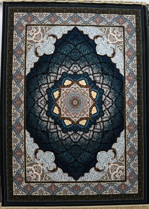 فرش کاشان- نقشه صدف سرمه ای ۱۲۰۰ شانه