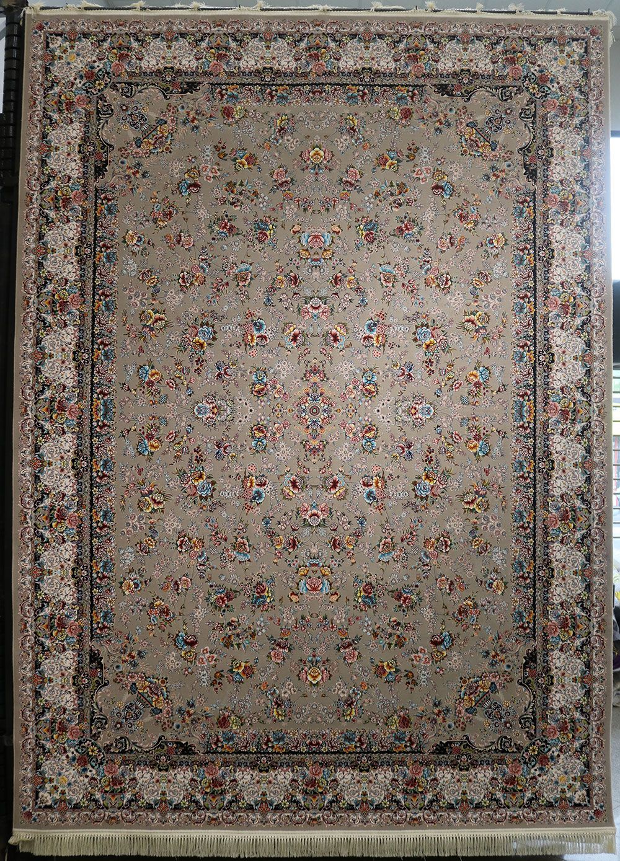 فرش کاشان- افشان باغ گل ۱۲۰۰ شانه ترمه ای