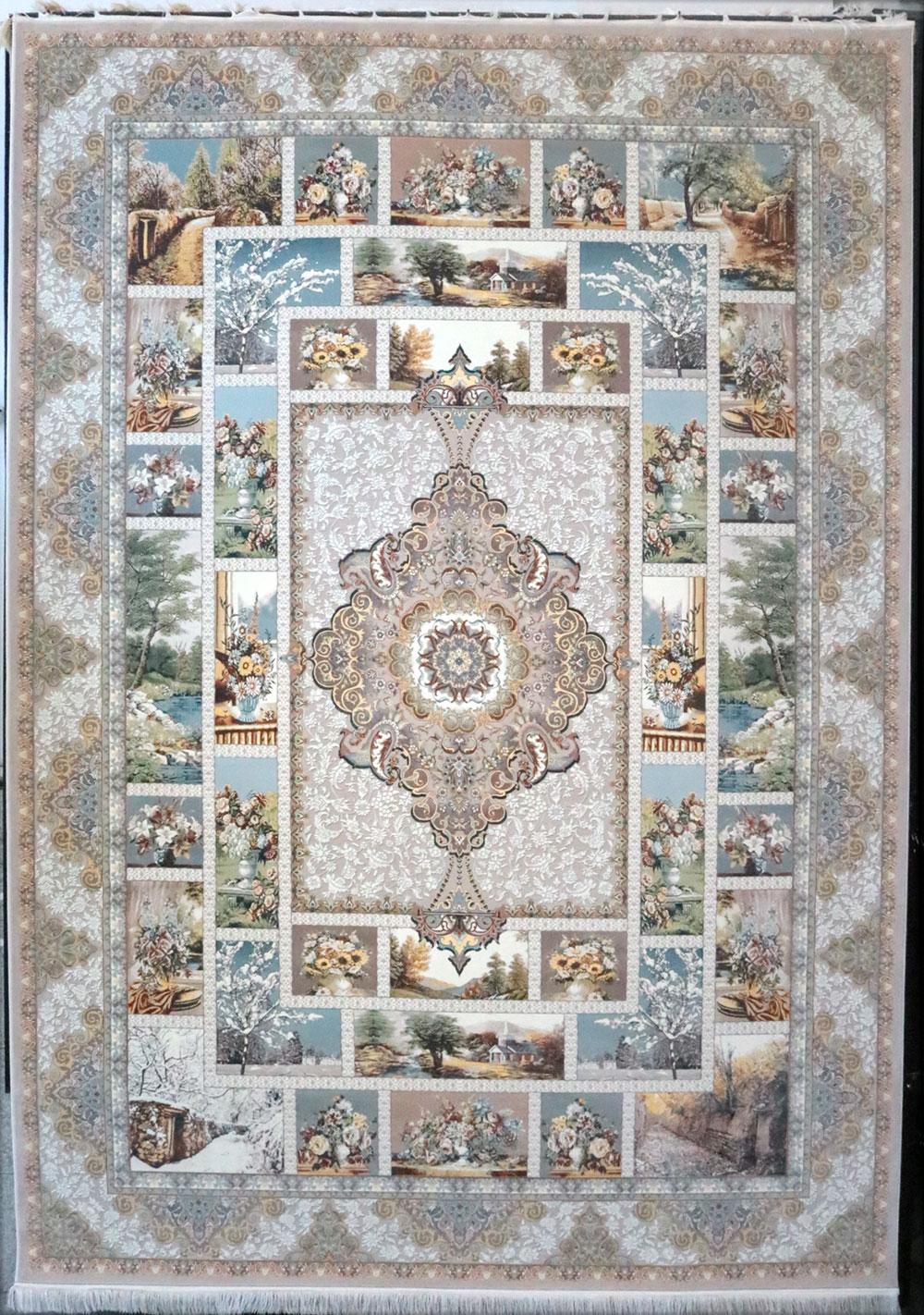 فرش کاشان- نقشه چهار فصل 1200 شانه