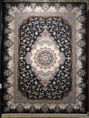 فرش کاشان – ۱۰۰۰ شانه مانلی سرمه ای