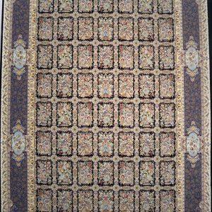 فرش کاشان- نقشه خشتی قهوه ای ۱۲۰۰ شانه