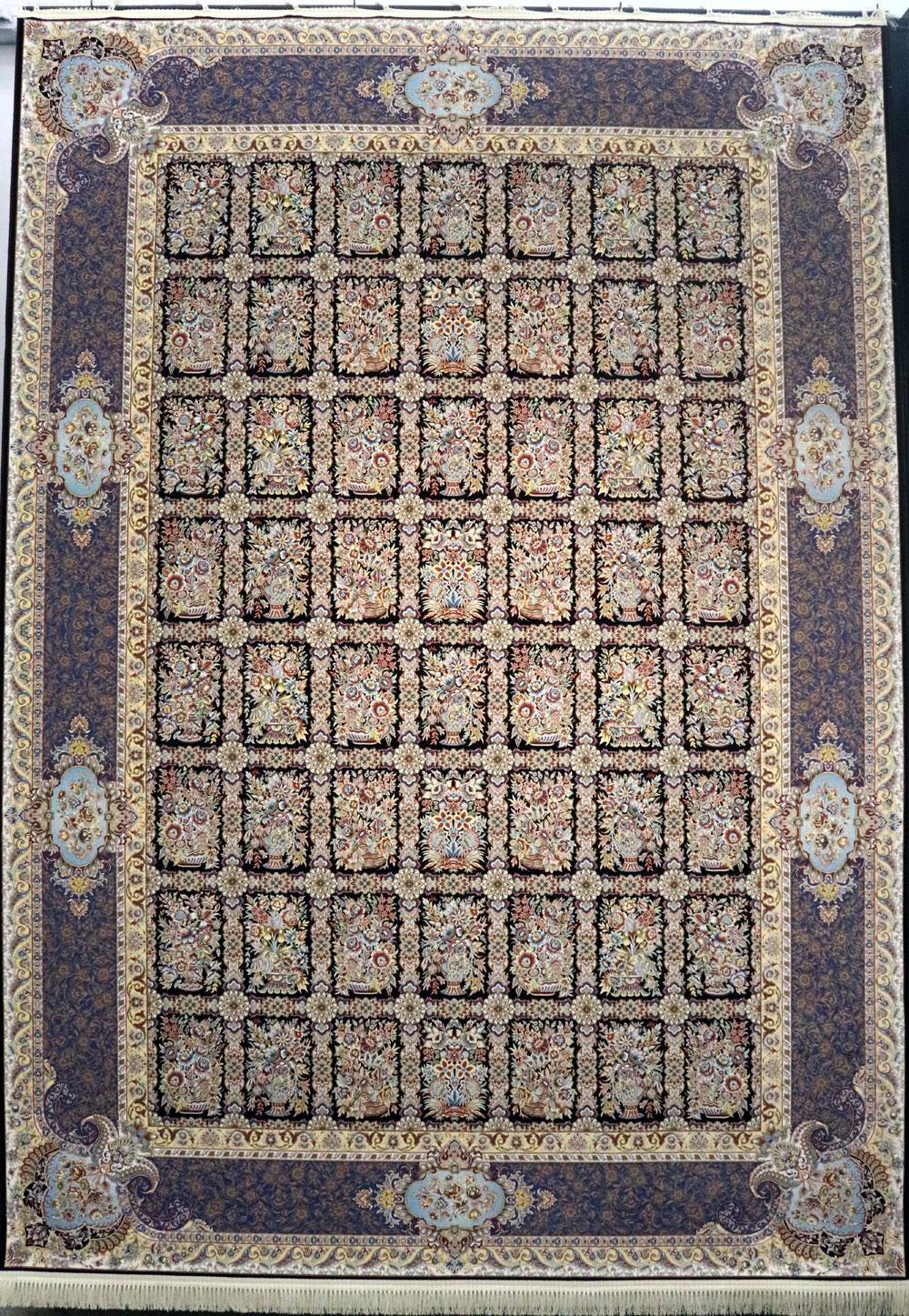 فرش کاشان- نقشه خشتی قهوه ای 1200 شانه