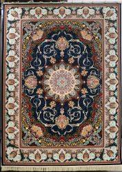 فرش کاشان – ۱۰۰۰ شانه نقشه ارزو سرمه ای