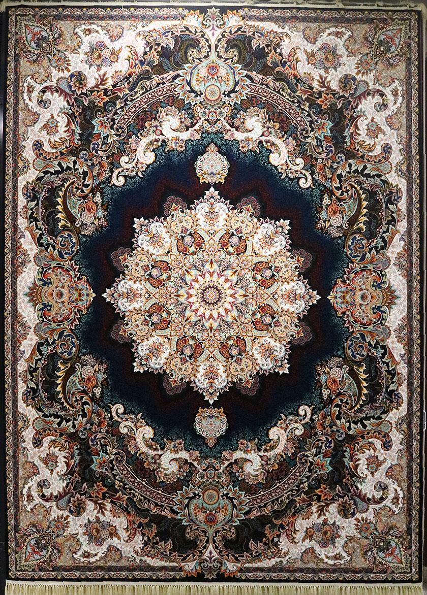 فرش کاشان – ۱۰۰۰ شانه نقشه برکه سرمه ای
