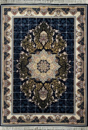 فرش کاشان-نقشه هیوا سرمه ای ۷۰۰ شانه