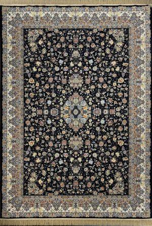 فرش نقشه گلفرنگ سرمه ای