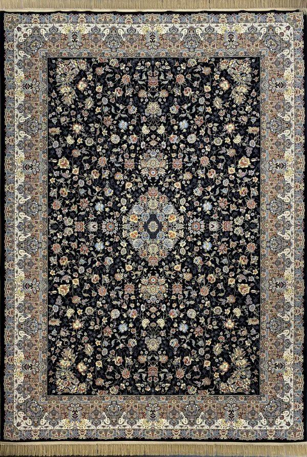 فرش نقشه گلفرنگ سرمه ای 1200 شانه