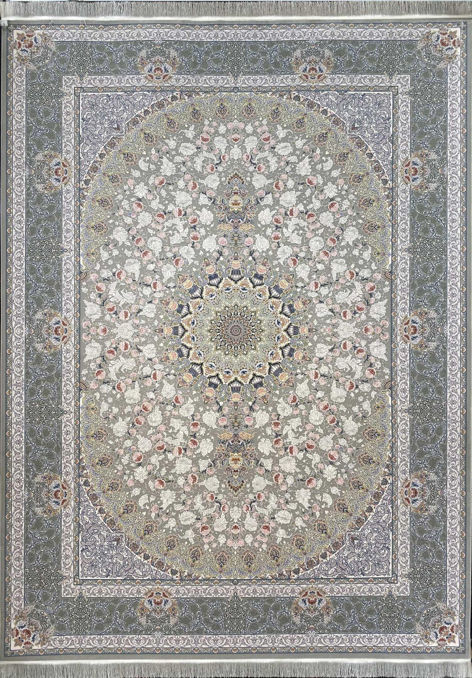 فرش نقشه یکتا طوسی گلبرجسته
