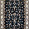 فرش کاشان – ۱۰۰۰ شانه نقشه افشان بهشت سرمه ای