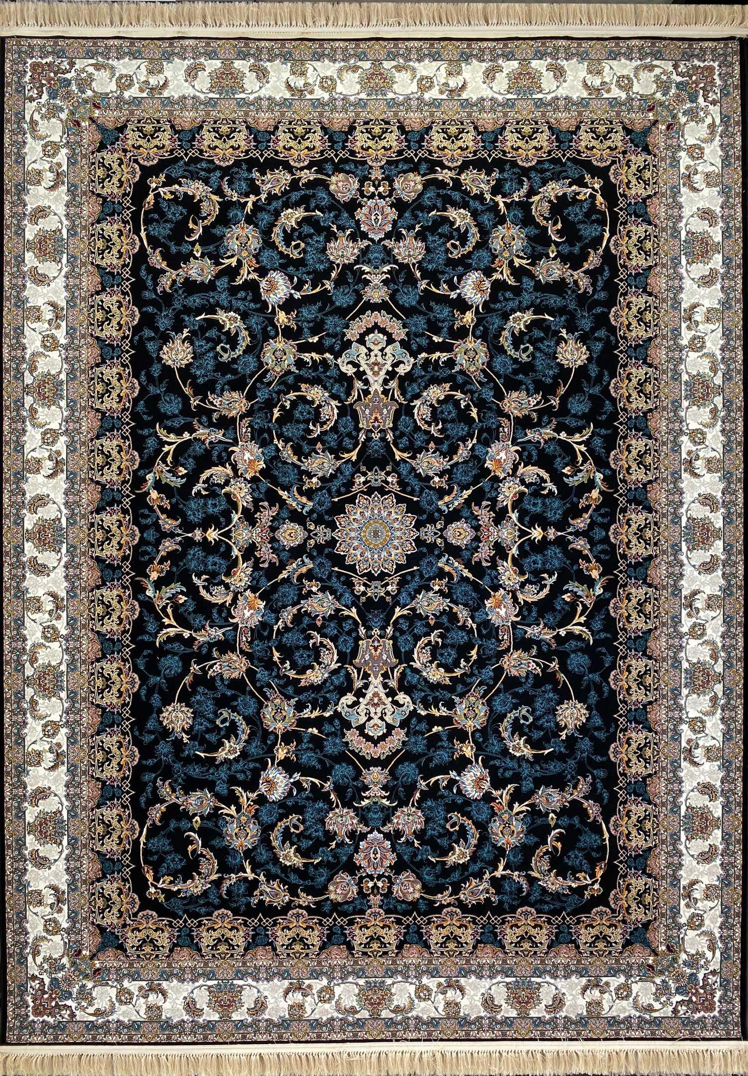 فرش کاشان – 1000 شانه نقشه افشان بهشت سرمه ای