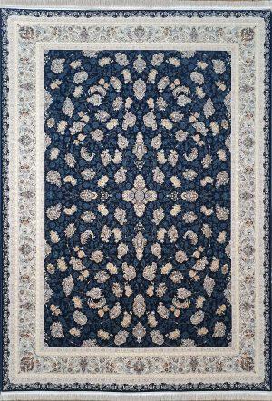 فرش نقشه گلسرخ سرمه ای  گلبرجسته