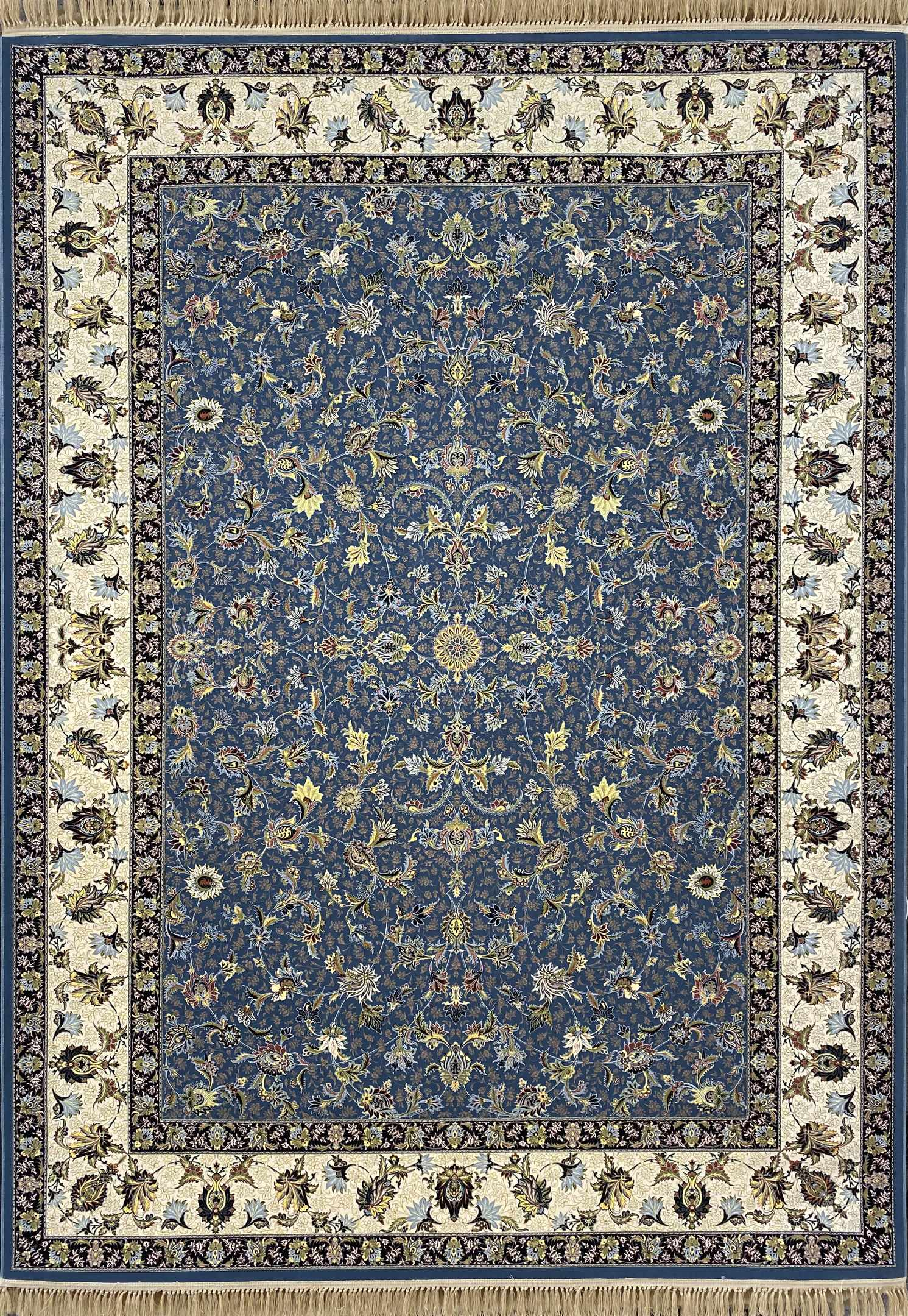 فرش نقشه ناز افشان آبی گلبرجسته