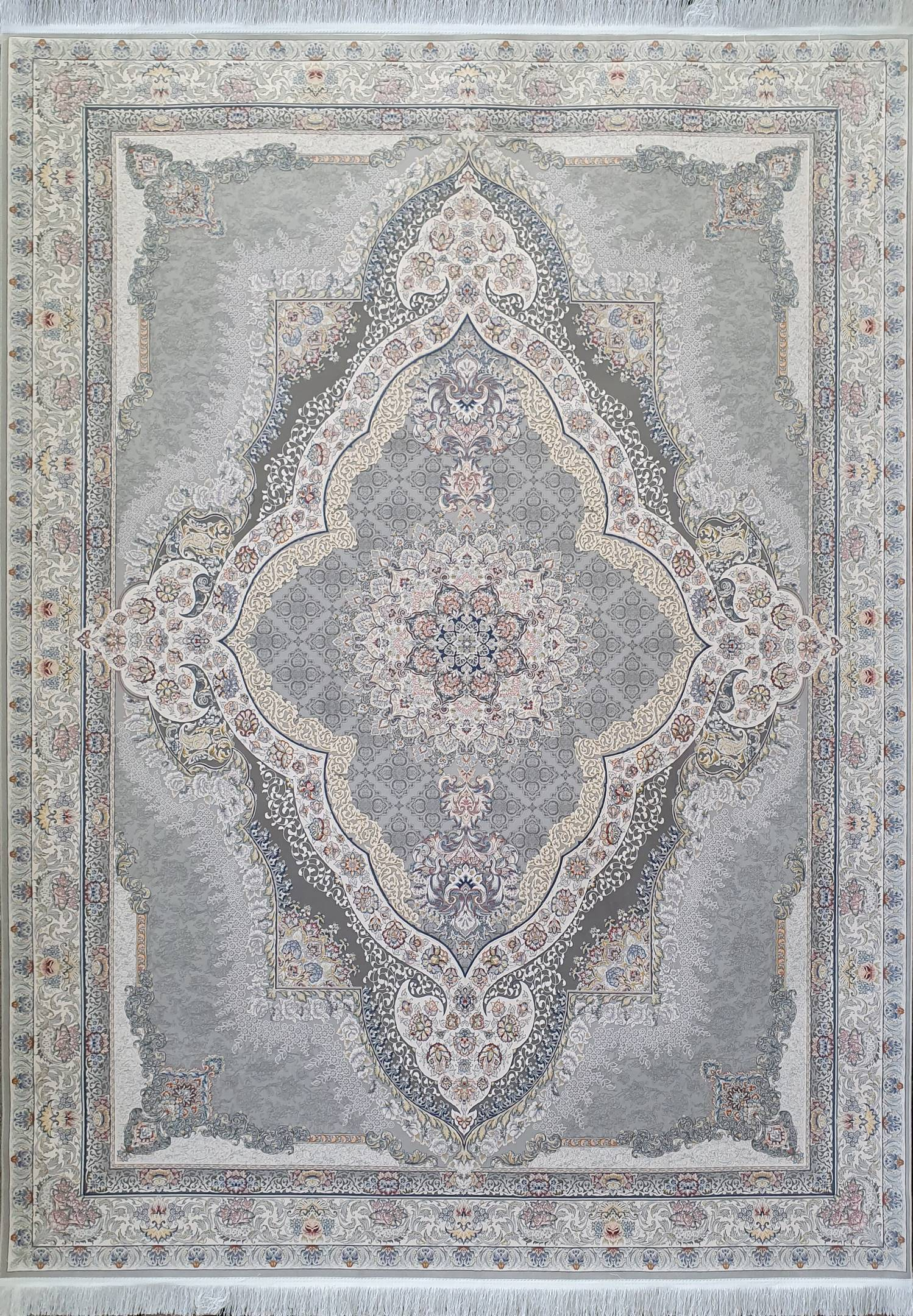 فرش نقشه رستا نقره ای  گلبرجسته
