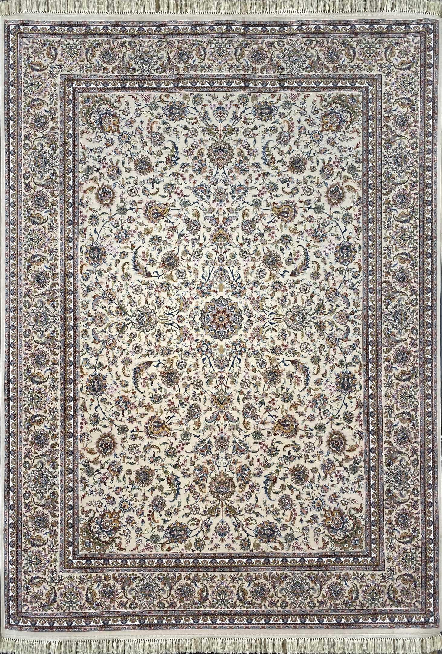 فرش کاشان -نقشه افشان صفوی1000 شانه کرم گلبرجسته