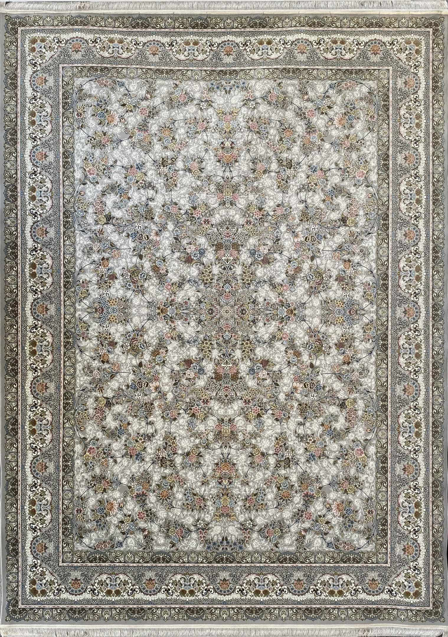 فرش کاشان -نقشه افشان بهار ۱۵۰۰ شانه سیلور گلبرجسته