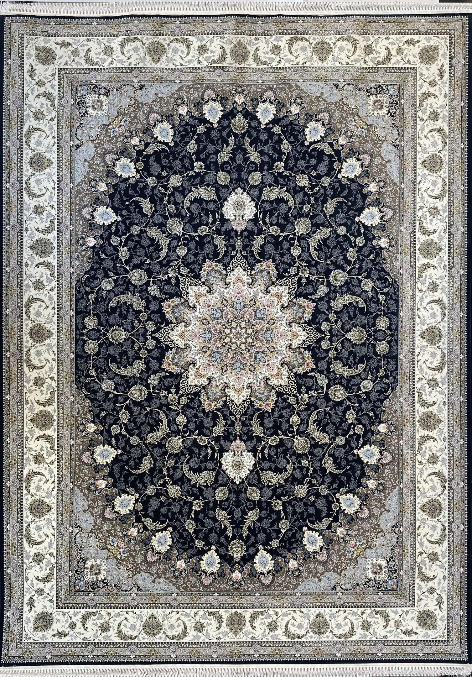 فرش کاشان -نقشه اصفهان 1500 شانه سرمه ای گلبرجسته