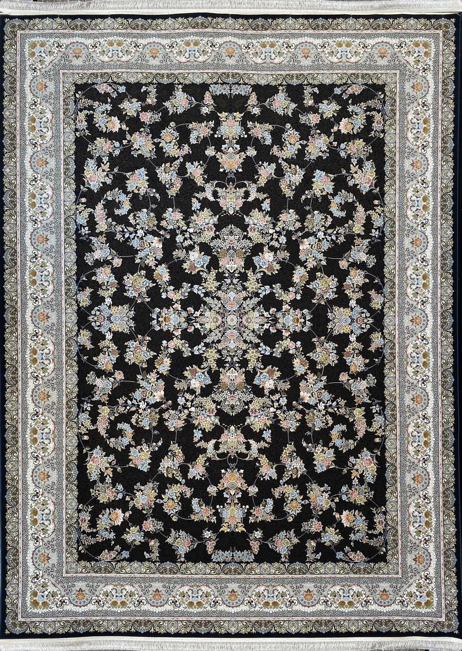فرش کاشان -نقشه ۱۵۰۰ شانه افشان بهار سرمه ای گلبرجسته