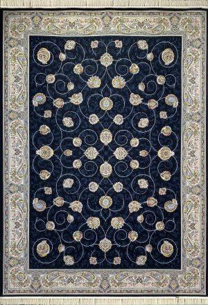 فرش کاشان – ۱۰۰۰ شانه نقشه افشان مهريز سرمه ای