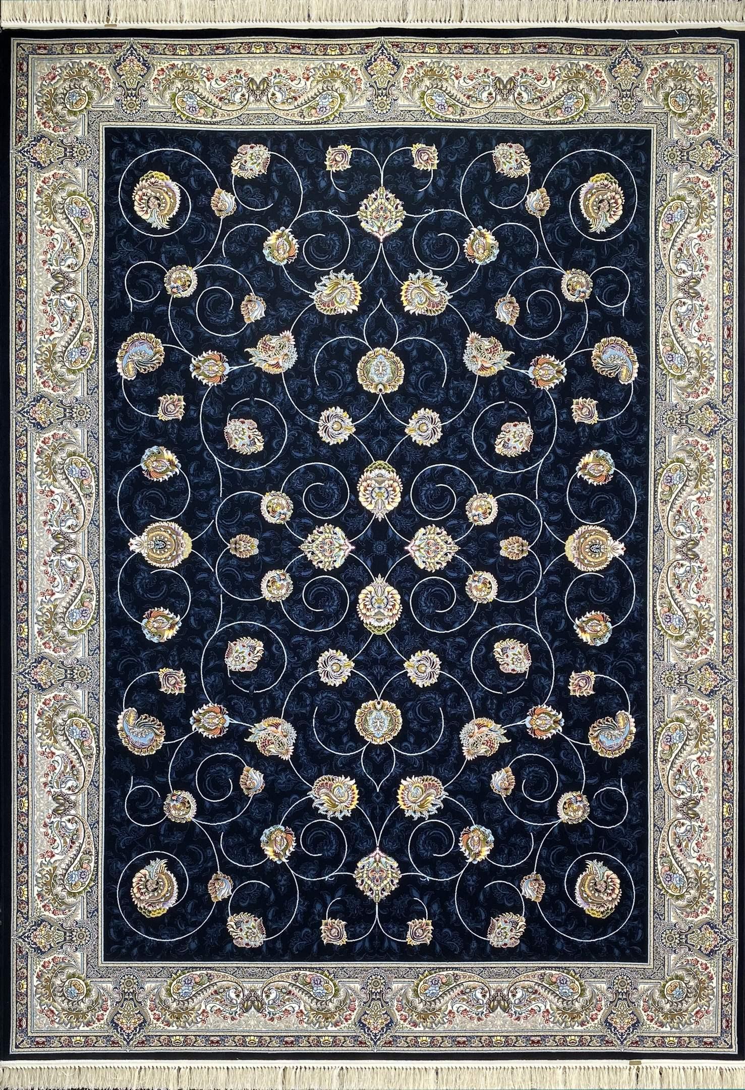 فرش کاشان – 1000 شانه نقشه افشان مهريز سرمه ای