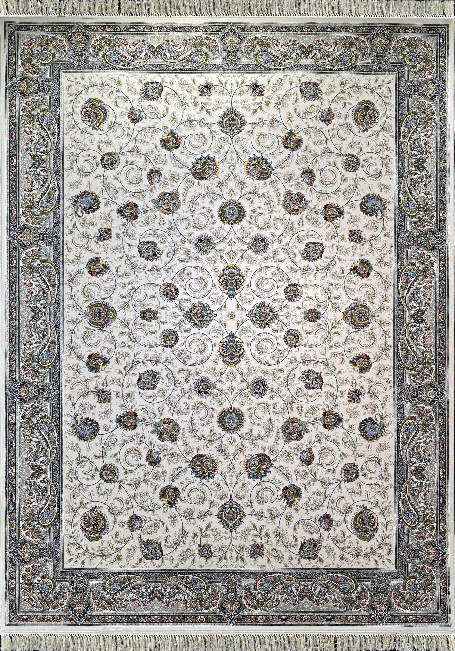 فرش کاشان -نقشه مهریز 1000 شانه کرم