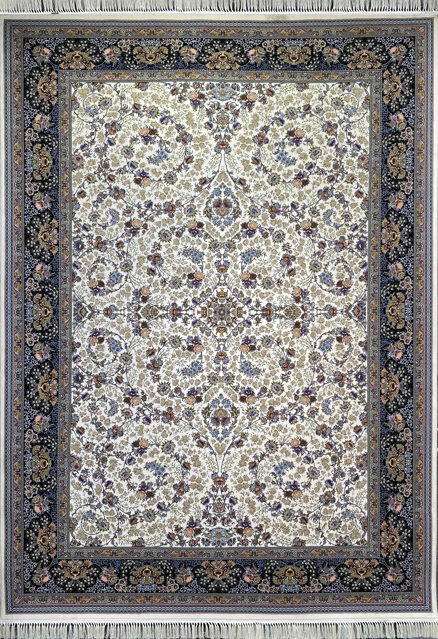 فرش کاشان -نقشه افشان شاهان 1000 شانه کرم