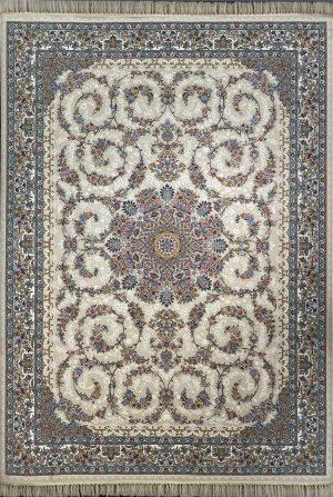 فرش کاشان -نقشه باغ حرير ۱۰۰۰ شانه کرم گلبرجسته