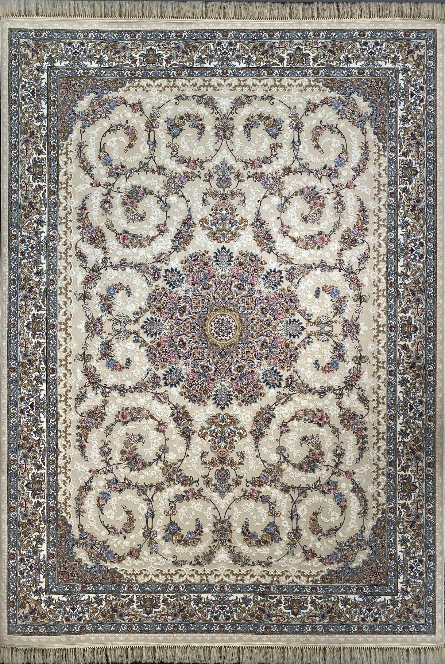 فرش کاشان -نقشه باغ حرير 1000 شانه کرم گلبرجسته