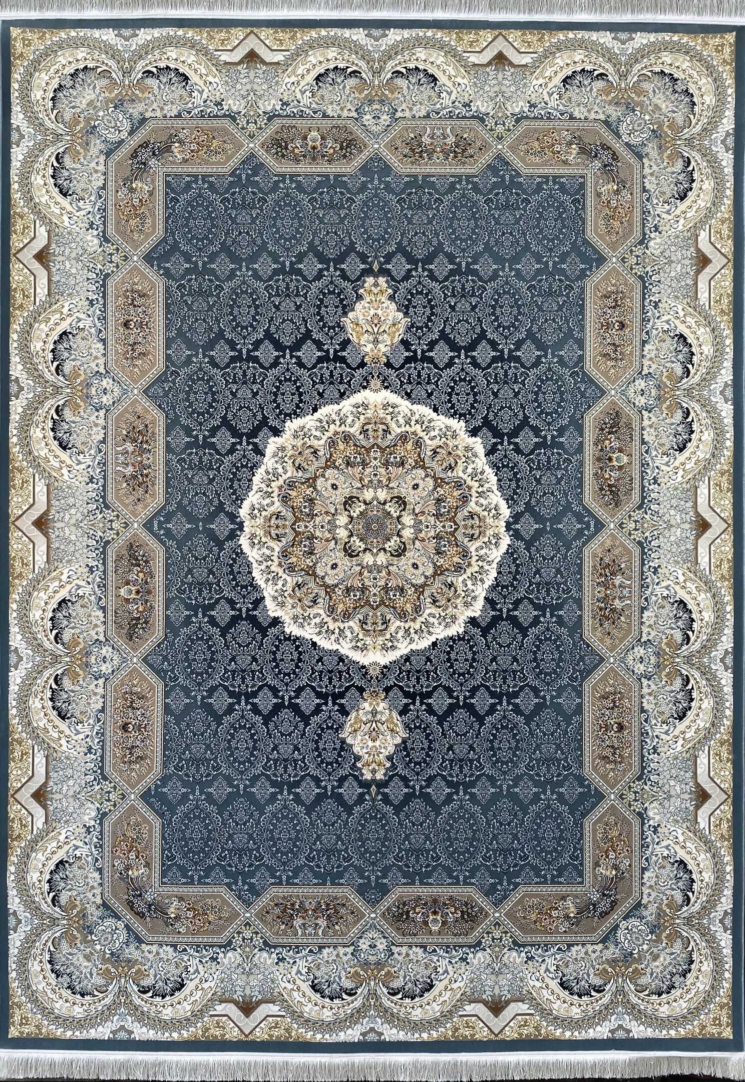 فرش نقشه هالیدی آبی گلبرجسته
