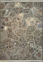 فرش کاشان -نقشه آینه  ۱۰۰۰ شانه فیلی گلبرجسته