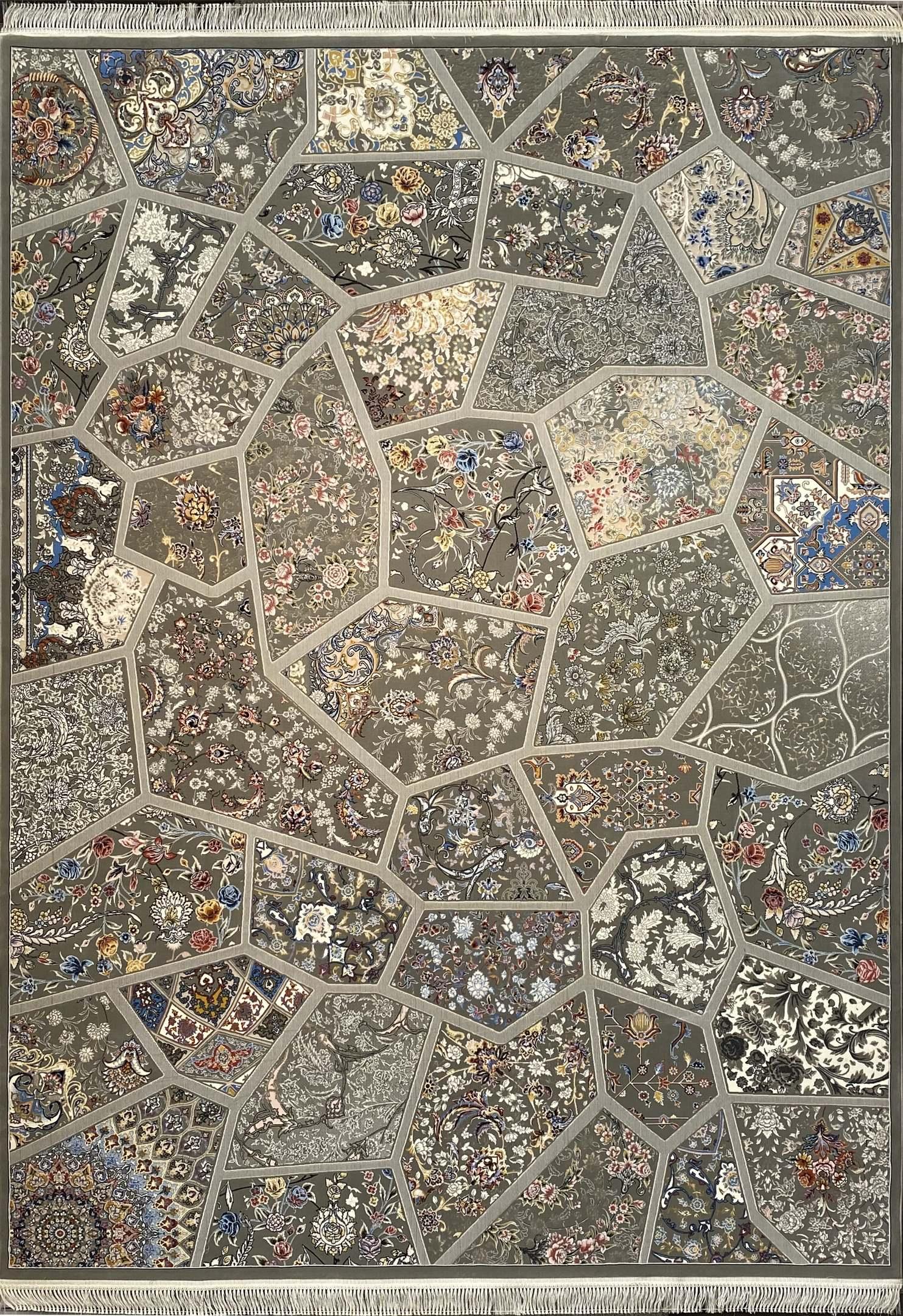 فرش کاشان -نقشه آینه  1000 شانه فیلی گلبرجسته