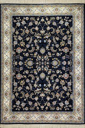 فرش کاشان – ۱۰۰۰ شانه طرح افشان مسیحا سرمه ای